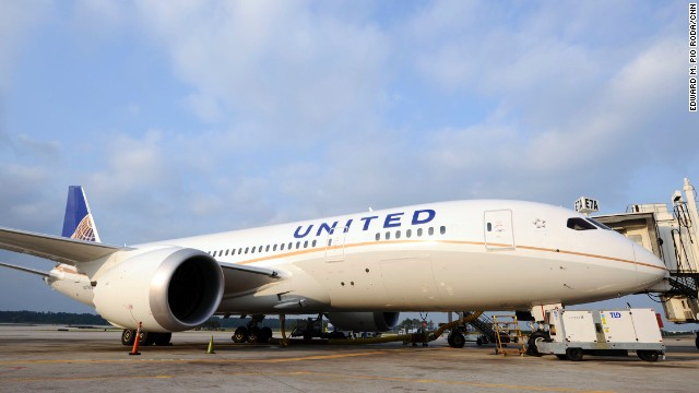 05/20/2013 A United 787 Dreamliner sits on the tarmac at Houston's George Bush Intercontinental Airport on Monday May 20, 2013. ph: E. M. Pio Roda / CNN