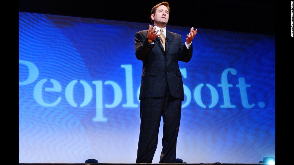 "Oracle had a drawn-out fight for rival software development business PeopleSoft, which sold to Oracle <a href=""http://money.cnn.com/2004/12/13/technology/oracle_peoplesoft/"">for $10.3 billion</a> in cash in December 2004. Pictured, PeopleSoft President Craig Conway speaks in June 2003."