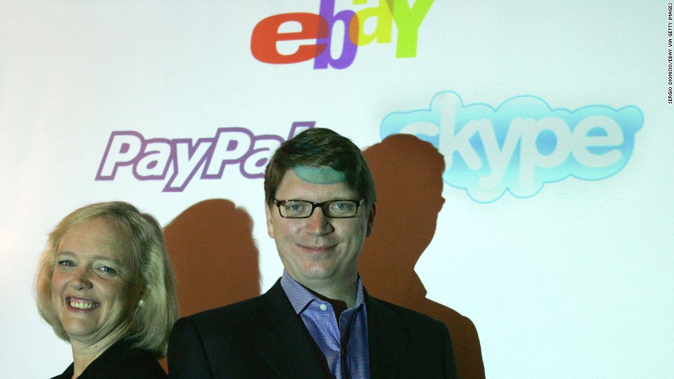 "In order to simplify online buying and selling, <a href=""http://archives.cnn.com/2002/BUSINESS/07/08/ebay.paypal/"" target=""_blank"">eBay purchased PayPal</a> for $1.5 billion in June 2002. The payment service proved to be hugely successful, and in late 2012 the <a href=""http://tech.fortune.cnn.com/2013/02/07/ebay-donahoe-comeback/"" target=""_blank"">company announced a deal</a> that will allow consumers to use PayPal to pay in stores and other locations that accept Discover card. Pictured, eBay president and CEO Meg Whitman poses with Niklas Zennstrom, CEO and co-founder of Skype in September 2005."