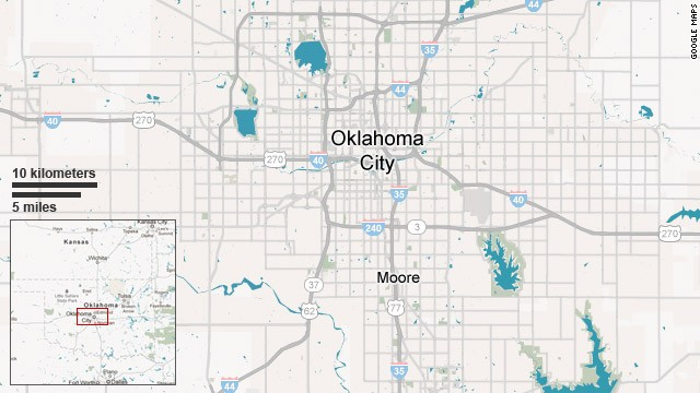 Map: Moore, Oklahoma