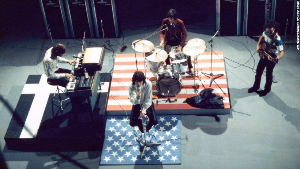 The Doors perform on a television set in Copenhagen, Denmark, on September 18, 1968. The legendary rock group went on to sell 100 million albums worldwide, establishing five multiplatinum discs in the U.S.