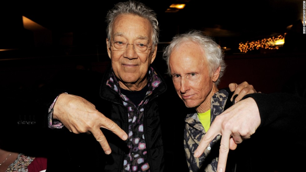 "Ray Manzarek, left, and Krieger of The Doors strike a pose at the screening of ""The Doors Mr. Mojo Risin': The Making of L.A. Woman"" at the Egyptian Theater in Los Angeles on January 20, 2012."