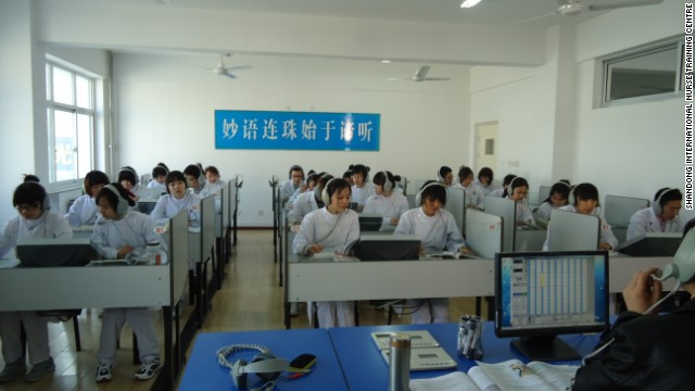 At the Shandong International Nurse Training Centre in Weihai, China, nurses who plan to move abroad attend language classes.