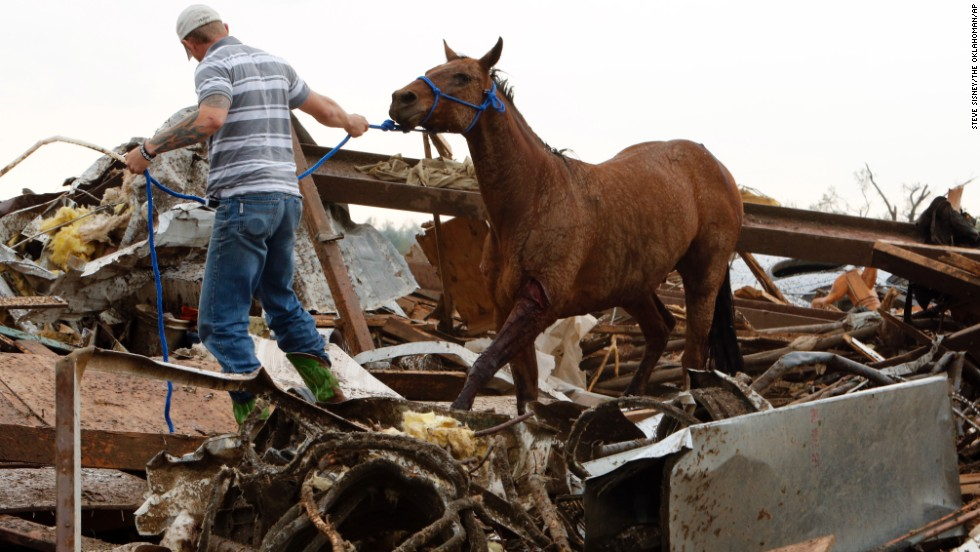 A rescue worker leads a horse from the wreckage of a day care center and barns on Monday, May 20, in Moore.