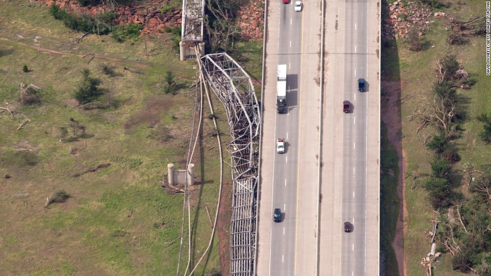 A section of a bridge outside of Oklahoma City was blown off its foundation.
