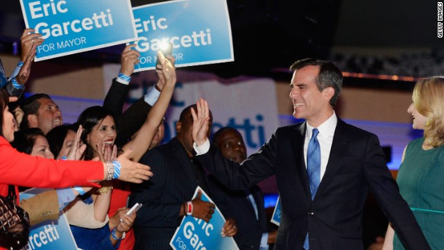 """I am honored to lead this city for the next four years,"" said Los Angeles Mayor-elect Eric Garcetti."