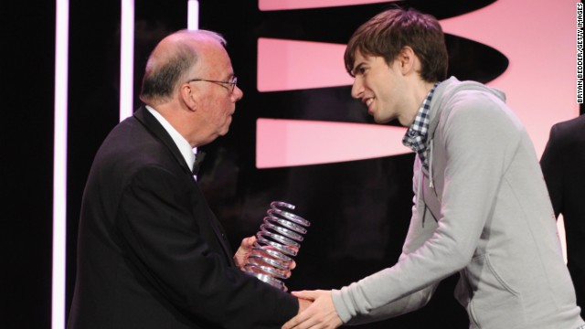 Steve Wilhite, left, received a Webby Award from Tumblr's David Karp for his invention of the animated GIF format.