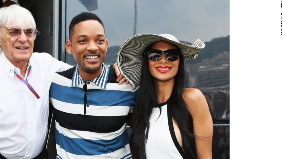 "Monaco is a magnet for celebrities like Hollywood actor Will Smith and popstar Nicole Scherzinger -- who is dating Mercedes driver Lewis Hamilton. Smith and ""Scherzy"" are pictured with Formula One boss Bernie Ecclestone in 2012."