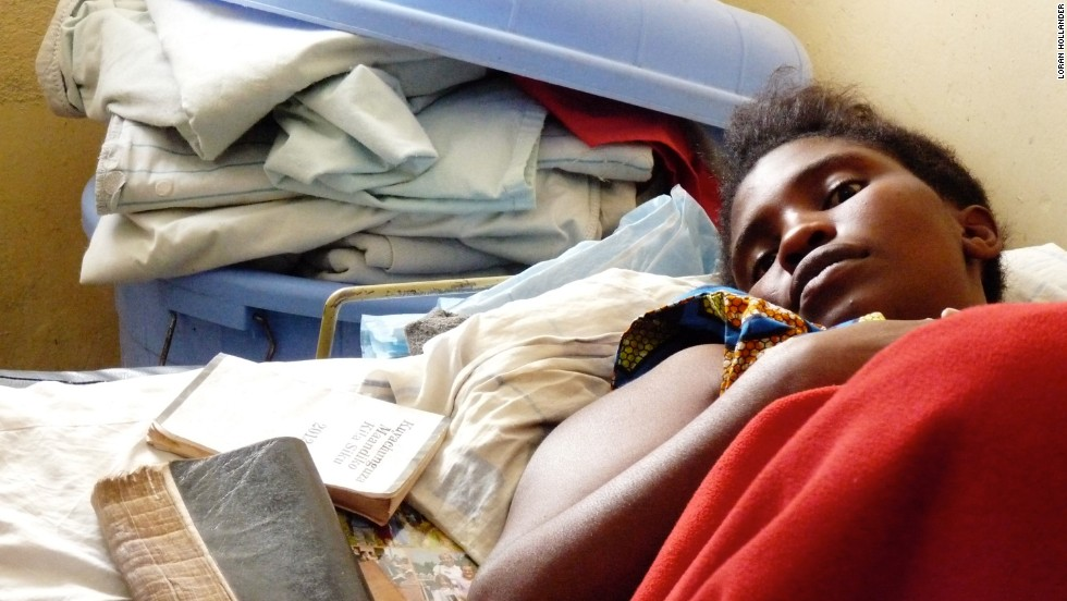 A 16-year-old girl awaits surgery at HEAL Africa hospital in the Democratic Republic of Congo. Her baby died after six days of labor, and she continuously leaks urine because of obstetric fistula.