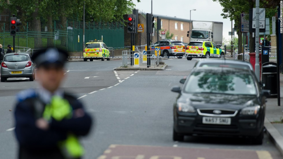 A police officer guards a blocked-off area in Woolwich on May 22.