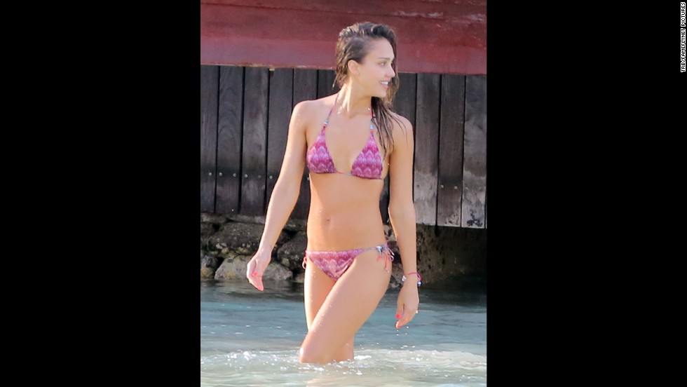 Jessica Alba vacationed with husband Cash Warren in St. Barts in April 2013.
