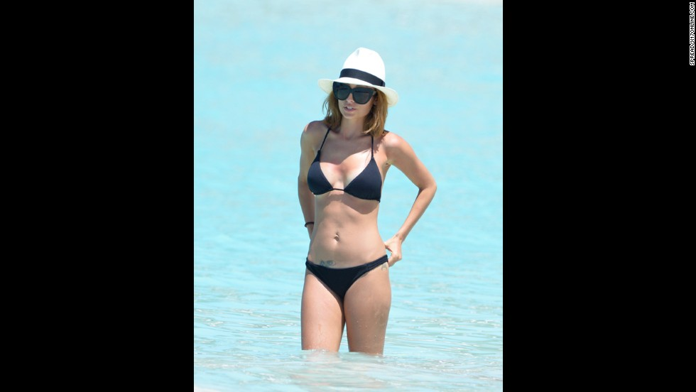 Nicole Richie donned a black bikini in St. Barts in April 2013.