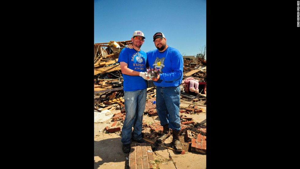 Scott, left, and Buddy Whitmore recovered a bowl that belonged to their grandmother.
