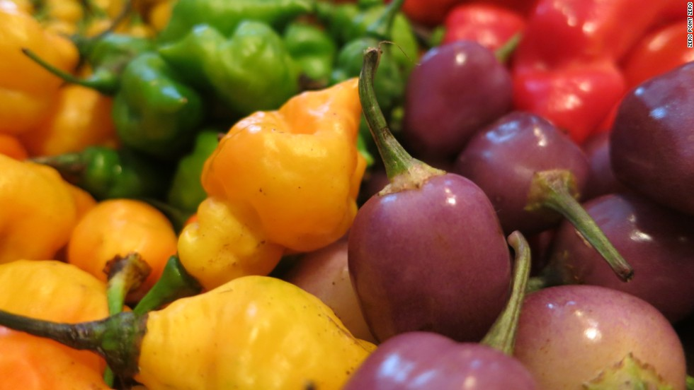 Colorful, hot and pungent peppers abound in Peruvian cooking.