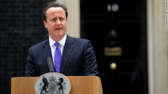Britian's prime Minister David Cameron addresses media representatives at 10 Downing Street in London on May 23, 2013, a day after a soldier who was hacked to death in a London street by two suspected Islamist extremists.