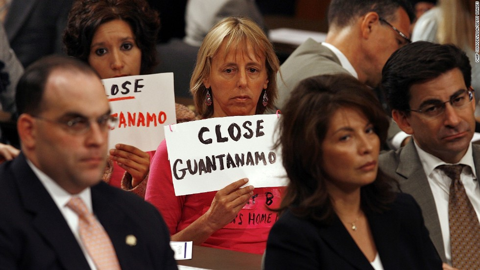 Medea Benjamin of San Francisco, California, protests during a hearing by the U.S. Senate Judiciary Committee on July 11, 2006, in Washington.