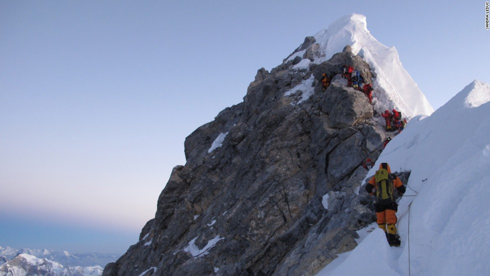 Mount Everest is a journey that challenges human nature on every level. Sandra LeDuc captured this photo as climbers approached the Hillary Step, before the Everest summit. Click through our gallery to see more photos from climbers taken on Everest during 2012.
