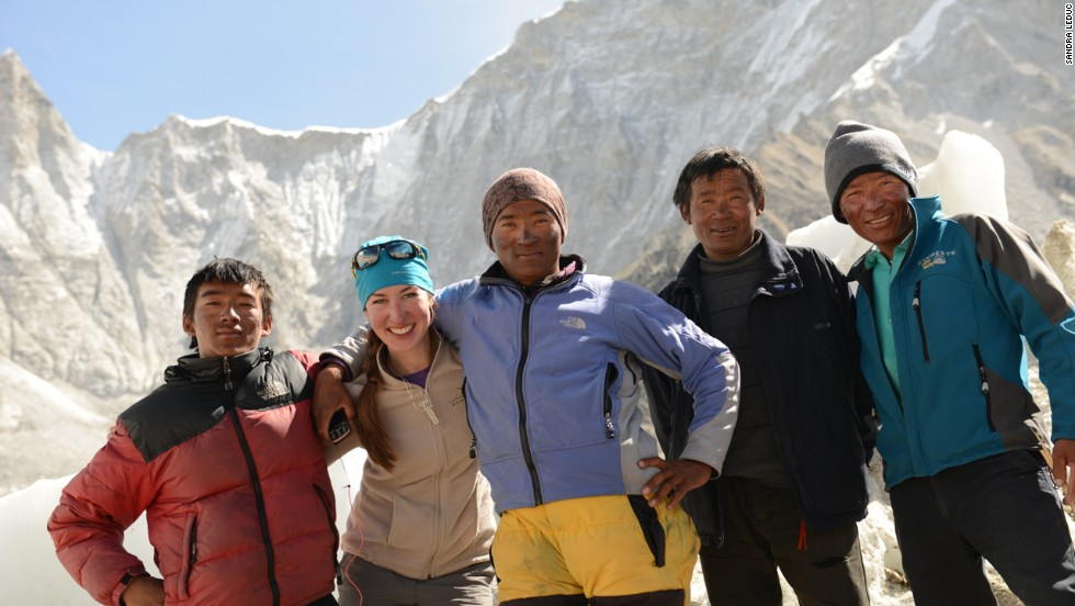 Sandra at Everest base camp with the team Sherpas.