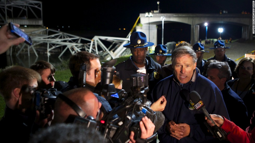 Washington Gov. Jay Inslee addresses the media at the scene of the bridge collapse on May 23.