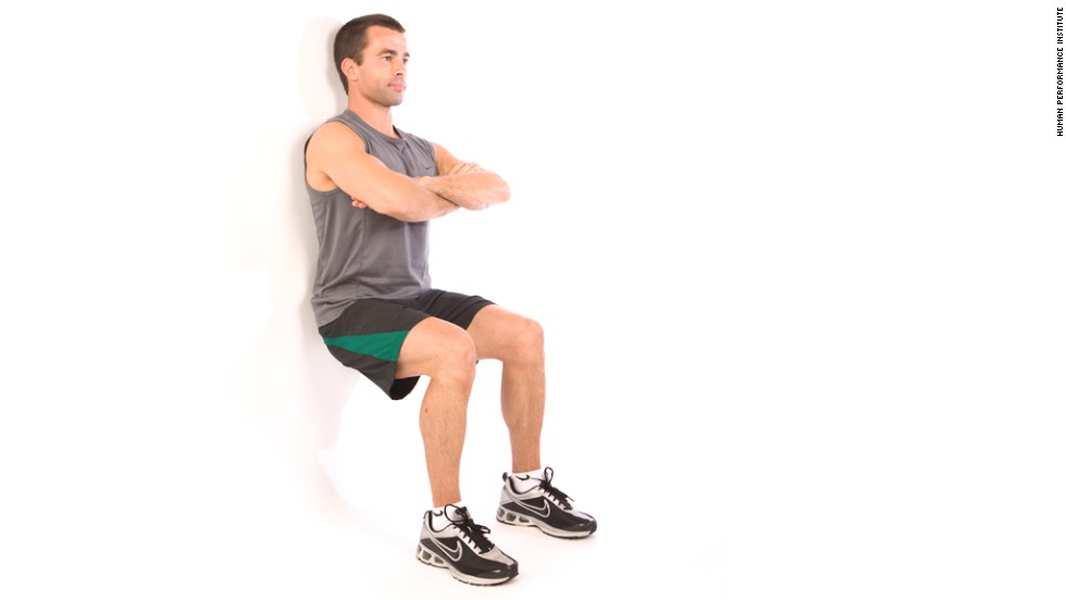 Wall squat: Works lower body