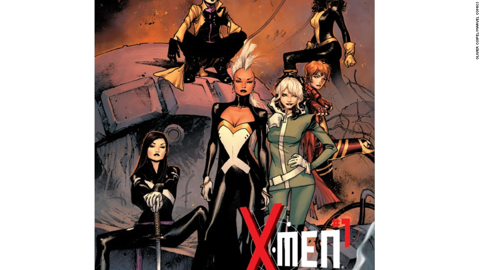 "For the first time in its 50-year history, the X-Men will be made up  entirely of women: Storm, Rogue, Jubilee, Kitty Pryde, Rachel Grey and Psylocke make up the mutant team in ""X-Men"" #1, in stores May 29. Check out more of this exclusive look at that first issue (hide captions to get the full picture)."