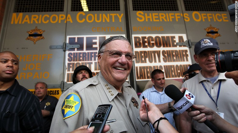 Maricopa County Sheriff Joe Arpaio stands in front of his county jail the day Arizona's immigration enforcement law SB 1070 went into effect on July 29, 2010 in Phoenix, Arizona.