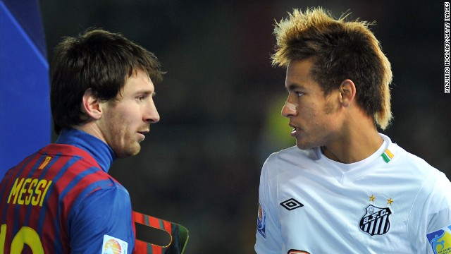 Lionel Messi, left, and Neymar will be teammates next season at Barcelona.