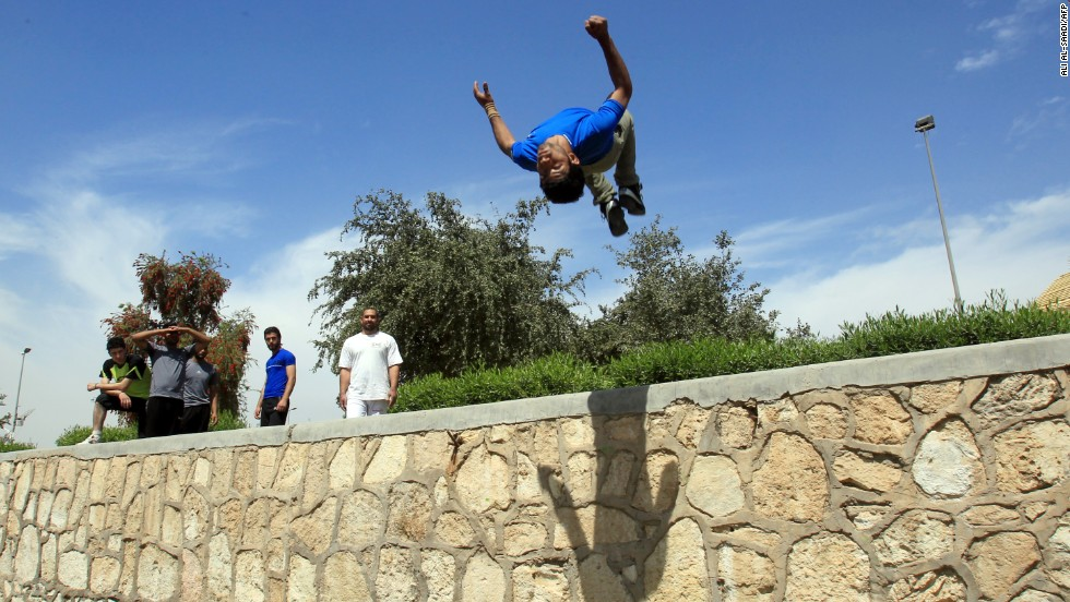 "Baghdad's parkour team practice in Zawra park in the city's center. ""We are a small group of young people and there are no parkour classes,"" says Prince Haydar."