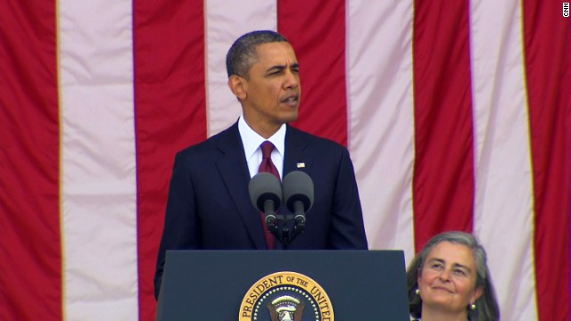 President Barack Obama speaks at Arlington National Cemetery in Virginia on Monday, May 27.