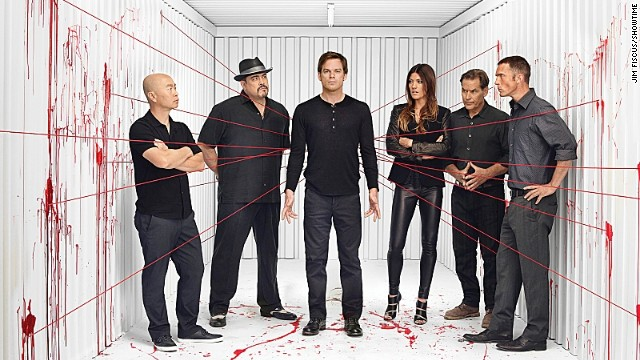 "C.S. Lee as Vince Masuka, David Zayas as Angel Batista , Michael C. Hall as Dexter Morgan, Jennifer Carpenter as Debra Morgan, James Remar as Harry Morgan and Desmond Harrington as Joey Quinn on ""Dexter."""