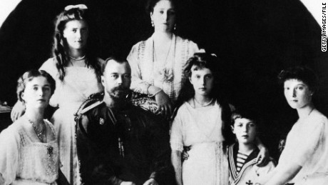 Picture taken in 1917 shows Nicholas II, Czar of Russia, and his family, in one of the latest pictures taken before the Revolution. From Left: Princesses Olga and Maria, Nicholas II Czarine Alexandra, Princess Anatasia, Czarevitch Alexei en Princess Tatiana. Forensic testing of bone fragments found in Russia's Ural Mountains region has confirmed they belonged to the last tsar's murdered children Alexei and Maria, Russian news agencies reported on April 30, 2008. AFP PHOTO (Photo credit should read AFP/AFP/Getty Images)