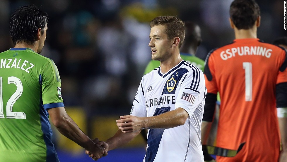 Robbie Rogers became the first openly gay male athlete to play in a professional American sporting match when he took the field for Major League Soccer's Los Angeles Galaxy during a match against the Seattle Sounders on May 26.