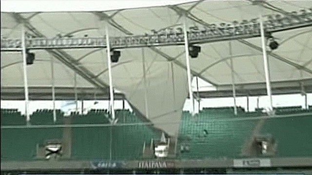 Part of World Cup stadium roof collapses