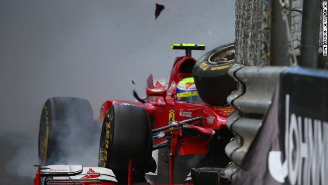 Felipe Massa crashed twice at the first corner of the Monaco Grand Prix circuit over the race weekend.