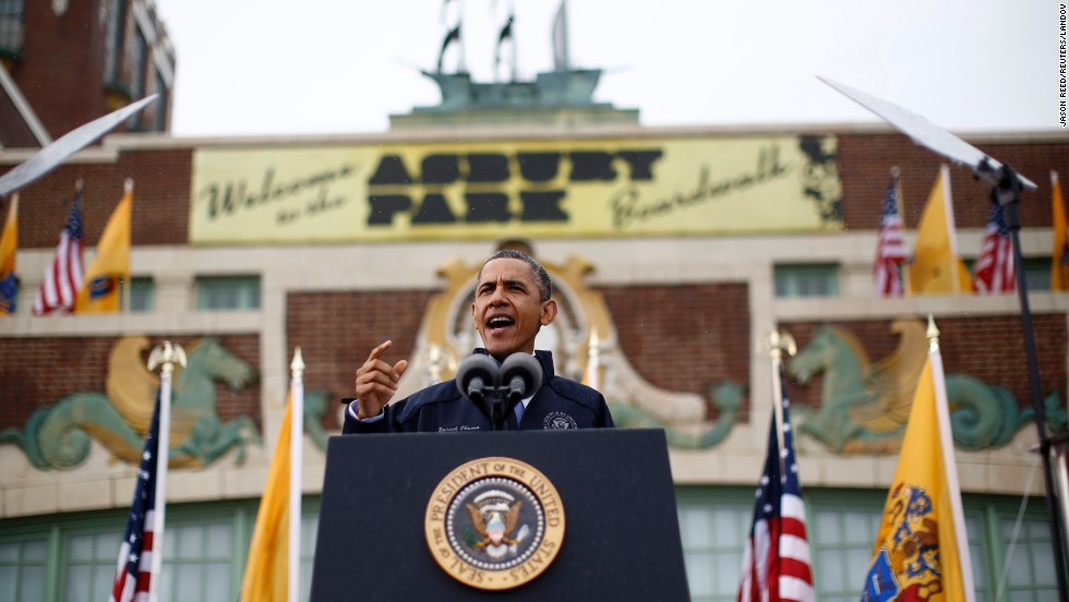 "Obama addresses the crowd in Asbury Park on May 28. ""After all you've dealt with, after all you've been through, the Jersey Shore is back,"" the president said to cheers."