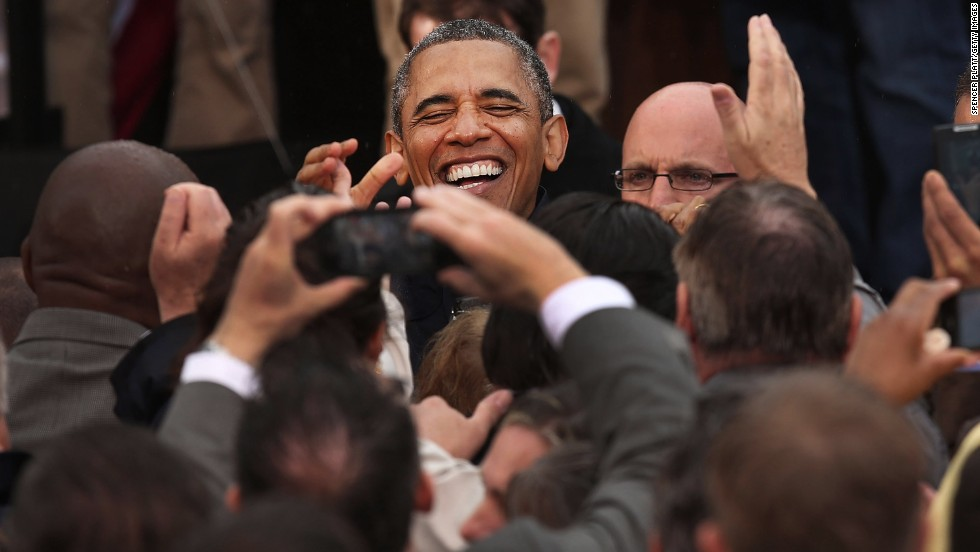 Obama shakes hands with members of the audience after speaking in Asbury Park on May 28.