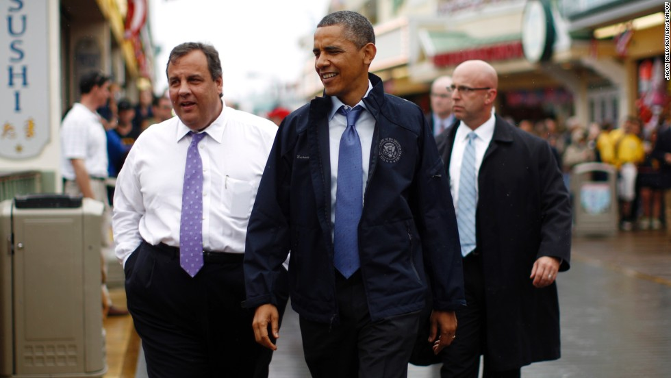 Christie and Obama walk on the boardwalk at Point Pleasant in New Jersey on May 28.