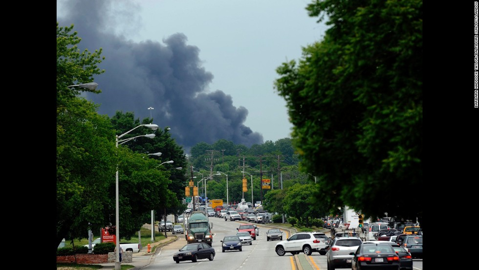 Smoke from the explosion fills the sky in Rosedale, just east of Baltimore.