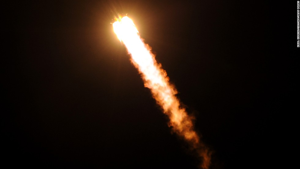 "Russia's Soyuz TMA-09M spacecraft blasts off from the Baikonur Cosmodrome in Kazakhstan early on Wednesday, May 29. A Russian rocket carrying an international crew of U.S. astronaut Karen Nyberg, Russian cosmonaut Fyodor Yurchikhin and Italian astronaut Luca Parmitano launched from Kazakhstan and docked on the International Space Station. <a href=""http://www.cnn.com/2012/10/23/world/gallery/iss-mission/index.html"">See photos from the last launch to and from the space station.</a>"