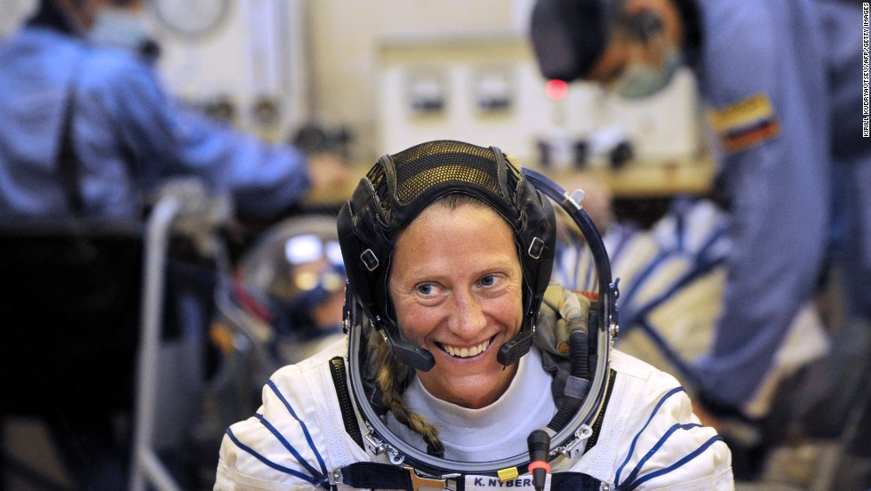 Nyberg smiles during the space suit testing on May 28.