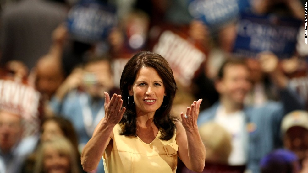 Bachmann reacts to the crowd at the Republican National Convention in September 2008 in St. Paul, Minnesota.