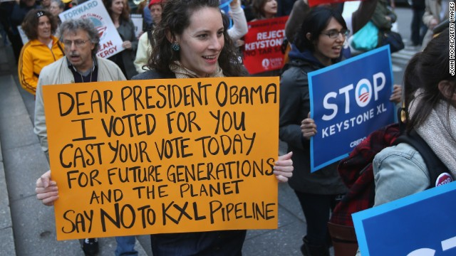 Environmentalists in New York protest the Keystone pipeline to coincide with a visit by President Obama on May 13.