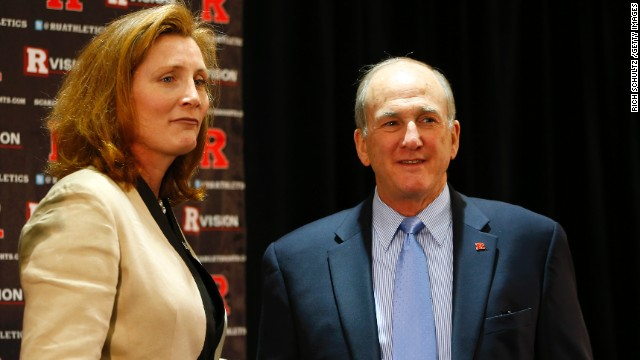 Rutgers University President Robert Barchi introduces Julie Hermann as the school's new athletic director on May 15.
