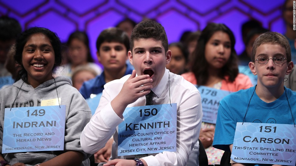 "Kennith Gonzalez of Union City, New Jersey, yawns during round two on May 29.  Kennith correctly spelled ""tarragon."" Tarragon is a European wormwood grown for it's aromatic foliage used in making pickles and vinegar."
