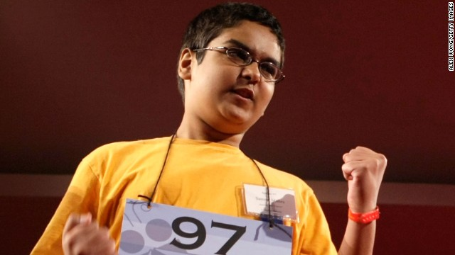 WASHINGTON - MAY 30:  Sameer Mishra of West Lafayette, Indiana celebrates after he correctly spelled his word during round seven of the 2008 Scripps National Spelling Bee at the Grand Hyatt Washington Hotel May 30, 2008 in Washington, DC. Spellers from all around the U.S., Canada and countries as far away as South Korea and New Zealand are competing in a two-day event for the top honor as the best speller.  (Photo by Alex Wong/Getty Images)