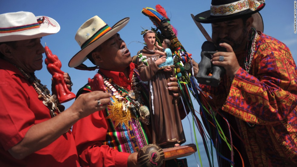 Shamans perform a marriage ritual on Valentine's Day at Agua Dulce, a local beach in Lima.