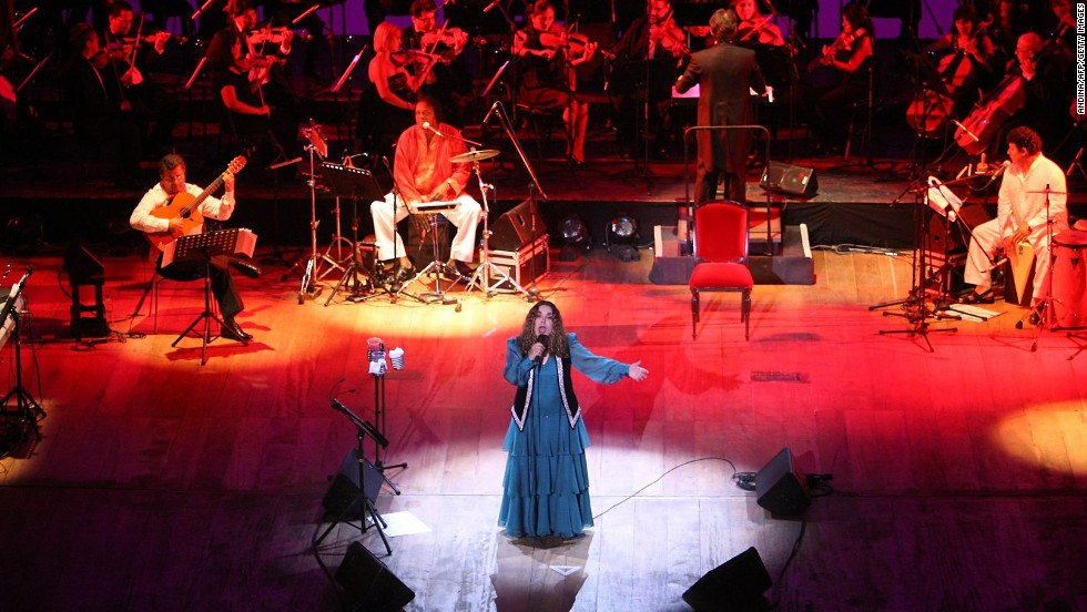 Peruvian singer Tania Libertad performs during a concert at the Municipal Theatre of Lima in May 2012. She was celebrating the anniversary of her 50-year career.