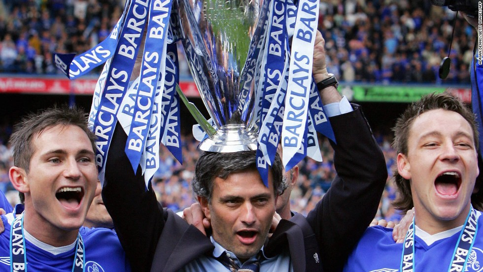 "Mourinho left Porto after their European success and joined Chelsea in June 2004, declaring at his first press conference: ""I am a special one."" He led the club to their first English league title in over 50 years in his first season at Stamford Bridge. Frank Lampard (L) and John Terry were two of his most trusted players. He left in September 2007 after winning five major trophies."