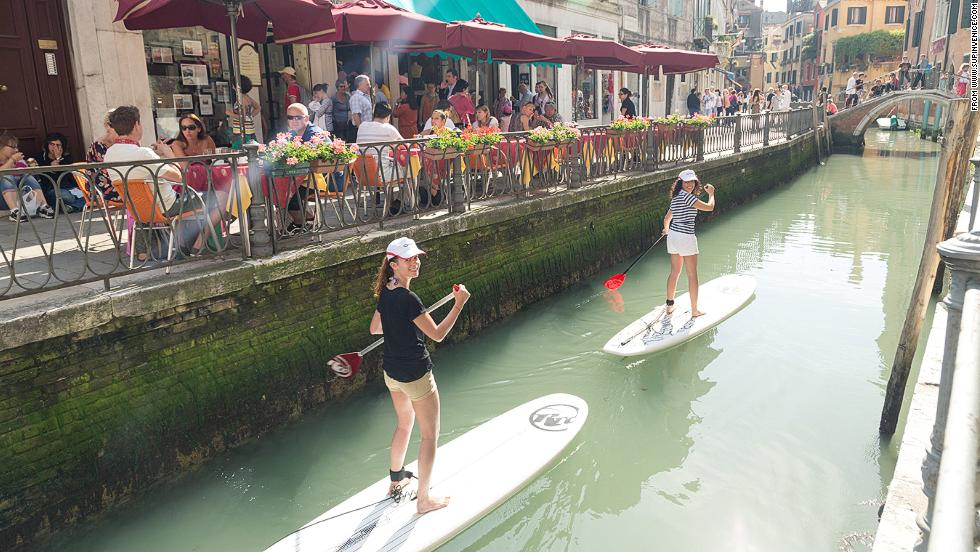 Schwitzky isn't the only person to use waterways inventively to get around the city. Paddleboarding has been widely named as the fastest growing watersport in the world and in Venice, Italy, tourists are using the floating boards to explore the city's canals.