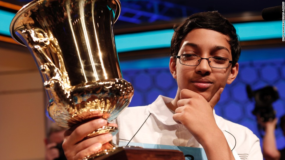 "Arvind Mahankali, a 13-year-old from Bayside Hills, New York, won the Scripps National Spelling Bee, spelling ""knaidel,"" a dumpling, on May 30.  Definitions for the words spelled were taken from Merriam-Webster.  <a href=""http://www.cnn.com/2013/05/29/living/gallery/spelling-bee-champions/index.html"" target=""_blank"">Take a look back at previous winners</a>."